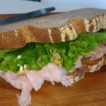 Ham and swiss on rye bread
