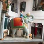 one of the two elephants that straddle the sanctum.