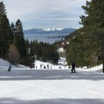 View of Lake Tahoe from top of green run
