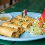 Two Chicken Flautas w/ Spicy Green Salsa, a local favorite!