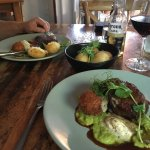 Our steaks with arancini ball and an extra side of roast potato