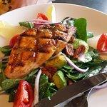 Salmon on salad, really good!!