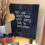 Sign inside cafe