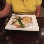 Orange Roughy, grilled asparagus, scalloped potatoes.