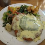 This is Chicken parmigiana with cheese sauce with Avocado the vegies where cooked in butter so y
