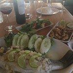 Fish, Pepper Chicken, Stir Fried Veggies