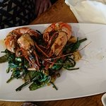Grilled king prawns with a really tasty side dish