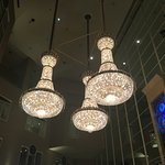 Beautiful chandeliers in the lobby