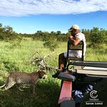 Male leoapard, Rhulani, and tracker, Eric