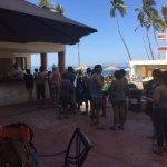 Line up at bar. 1 Bartender