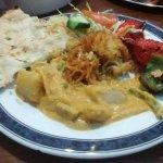 Vegetable Korma with Chicken Shaslick, Onion Bhaji & Pilau Rice