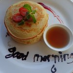 Pancakes with strawberry caulis from the breakfast ala carte selection
