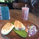 Cosy indoor cafe with air con if you want to hide from the sun! The ham and cheese panini tastes