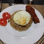 nasi goreng and fried chicken
