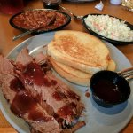 Brisket, beans, coleslaw and Texas toast