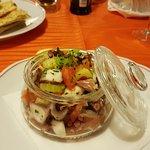 Delicious Octopus salade schiacciata and prosecco at Trattoria San Tomà in Sestiere di San Polo