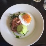 Pea pannacotta with ham hock and fried duck egg