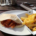 Chicken Chilli Pitta with Salt and Chilli Chips.
