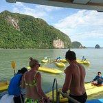 Getting on the kayaks