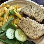 Beet Rueben with mac&cheese