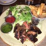 Charred hangar steak with Chimmichurri sauce - awesome!
