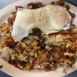 Greek omelette, Banana & Nutella Waffle, Over easy eggs with Homemade Hash, Perfect Bacon side,