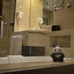 My stuffed toy Panda showing off the bathroom