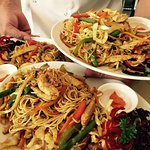 Chinese stir-fry egg noodles with Mixed Vegetables, Soya Sauce seasoning and Chicken Strips