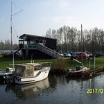 Moorings and boating club timber elevated clubhouse.