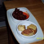 Tapas... Chorizo in red wine and Tortilla Espnol.
