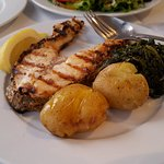 Grilled sea bass (nice grill flavor, but too salty)