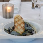 Mussels with dijon cream and grilled bread