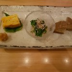 3 appy plate (Japanese omlette, Nanohana mustard greens, Crisp fried Ebi Imo potate from Kyoto)