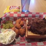 Brisket sandwich & corn nuggets