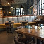 JSix dining area - cool industrial vibe