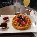 Waffle and mimosa.