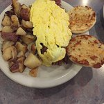 Corned Beef Hash, Scrambled Eggs & Grilled english