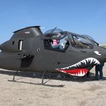 Climb up into the Cobra helicopter