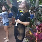suited up and feeding birds in the aviary