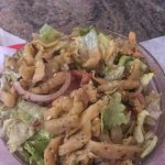 Amazing Chicken salad with eggplants and delicious latte