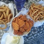 Onion Rings, Sweet Potato Waffle Fries, and Fries