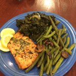 Fantastic Basil Salmon with their famous sautéed green beans and kale.