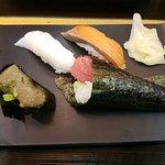 Salmon, Flounder Fin, Crab paste and Tuna cone