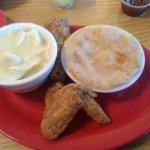 fried chicken, chicken pot pie and chicken and dumplins