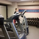 Fitness center can accommodate only a few people at a time plus one treadmill was on the fritz.