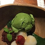 standard matcha ice cream with a hint of azuki beans and mochis but i love it!