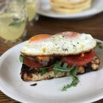 Grilled Steak and Fried Egg Open Face Sandwich