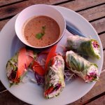 May's Spring Rolls - BEST peanut sauce I've ever had