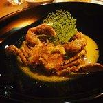 Roasted crab and smoked fish kaffir lime soup, soft-shell crab tempura, tomato crab ravioli