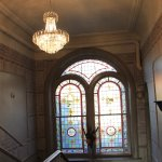 Stained glass and hall stairs detail